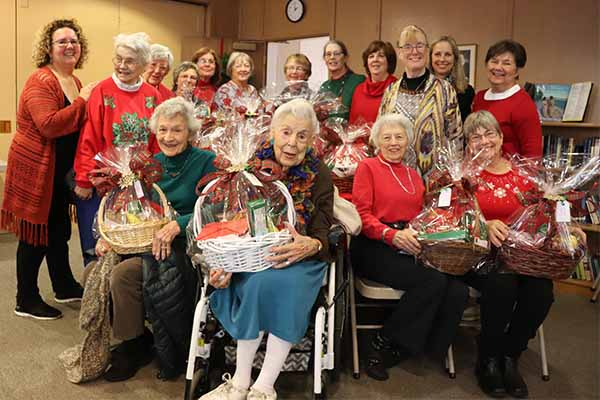 Women with Christmas Baskets